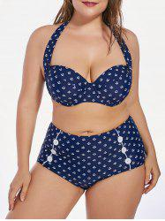 Anchor Printed  Underwear Halter Plus Size High Waist Bikini Set