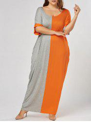Color Block Plus Size Maxi T-shirt Dress
