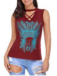 Crisscross Printed Sleeveless Choker Top -