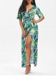 High Slit Floral Tropical Print Wrap Dress