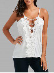 Lace Up Lace Low Cut Cami Top