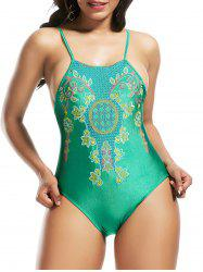 High Neck Cross Back Embroidered Swimsuit