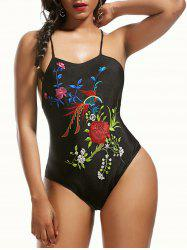 Cross Back Floral Embroidered Swimsuit
