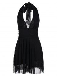 Backless Halter Skater Mini Dress - Noir