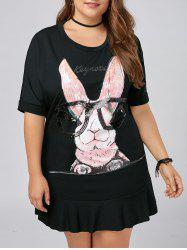 Plus Size Flounce Funny Rabbit T-shirt Dress