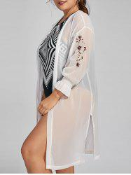 Plus Size Sheer Long Sleeve Chiffon Cover Up Kimono