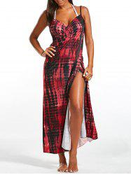 Illusion Print Wrap Cover Up Dress