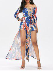 Off Shoulder High Split Printed Romper Dress