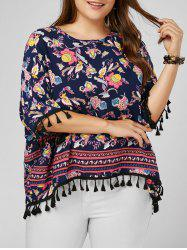 Tassel Printed Dolman Sleeve Plus Size Top