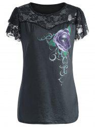 Floral Short Sleeve Plus Size Lace Trim Tee
