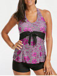 Halter Floral Striped Backless Tankini Set - BLACK AND PINK