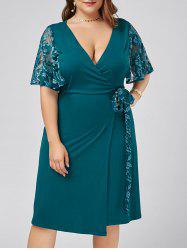 Plus Size Low Cut Lace Trim Wrap Dress