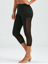 Mesh Insert Cropped High Waist Leggings - BLACK