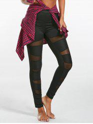 High Waist Mesh Panel Leggings - BLACK