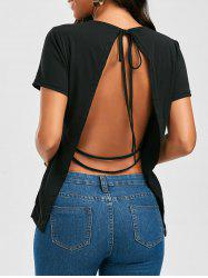Short Sleeve Open Back Strappy Tee