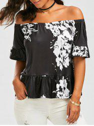 Off The Shoulder Peplum Floral Print Blouse