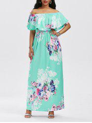 High Waist Flounce Floral Printed Maxi Dress