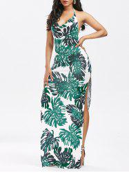 High Split Backless Printed Club Dress - GREEN