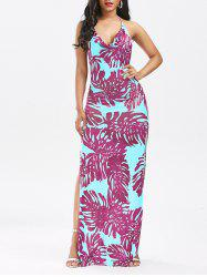 High Split Backless Printed Club Dress