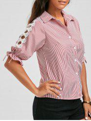 Pinstripe Button Up Beaded Shirt