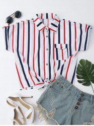 Striped Knotted Button Up Shirt - WHITE