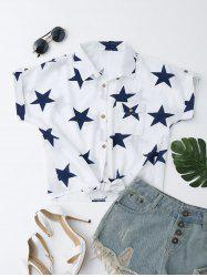 Star Print Button Up Knotted Shirt