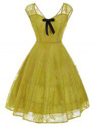 Vintage Bowknot Lace Fit et Flare Dress - Jaune XL