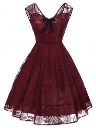 Vintage Bowknot Lace Fit et Flare Dress - Rouge vineux M