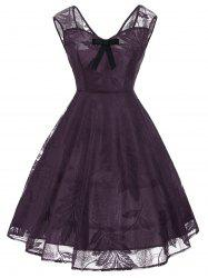 Vintage Bowknot Lace Fit et Flare Dress - Pourpre XL