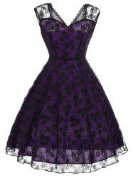 Floral Pattern Lace Vintage Fit and Flare Dress