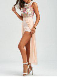 Floral Embroidered Mesh Panel Maxi Romper
