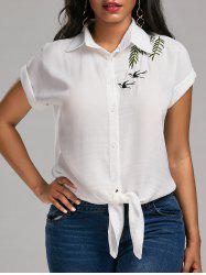 Dolman Sleeve Knotted Embroidered Blouse