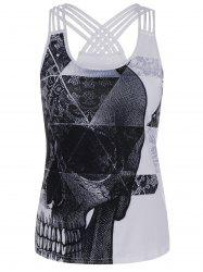 Strappy Skull Print Criss Cross Tank Top