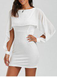 Flounce Chiffon Panel Capelet Dress - Blanc
