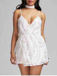 Sequined Spaghetti Strap Romper with Choker - WHITE