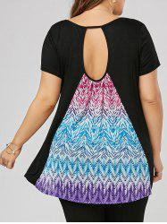 Print Plus Size Cut Out Tunic Top