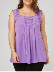 Plus Size Lace Trim Square Neck Blouse