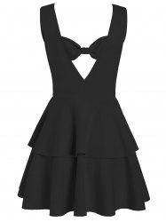 Layered Flouce Cut Out Back Tank Dress - BLACK
