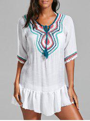 Crochet Peasant Cover-Up Dress - Blanc