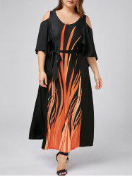 Plus Size Open Shoulder Capelet Dress