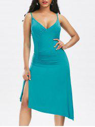 Asymmetric Surplice Slip Dress