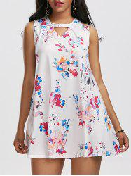 Sleeveless Keyhole Ink Printing Trapeze Dress