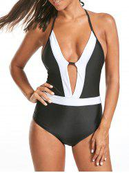 Halter Color Block Deep V Swimsuit
