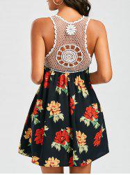 Openwork Crochet Trim Floral Dress - COLORMIX