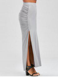 Ruched Side Slit Maxi Pencil Skirt