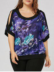 Size Floral Slit Sleeve Plus Blouse