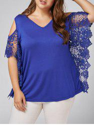 Plus Size Butterfly Sleeve Open Shoulder Blouse
