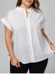 Plus Size Openwork V Neck Basic Blouse