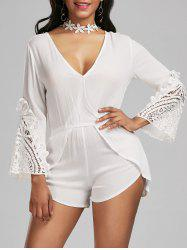 Lace Insert Surplice Backless Romper
