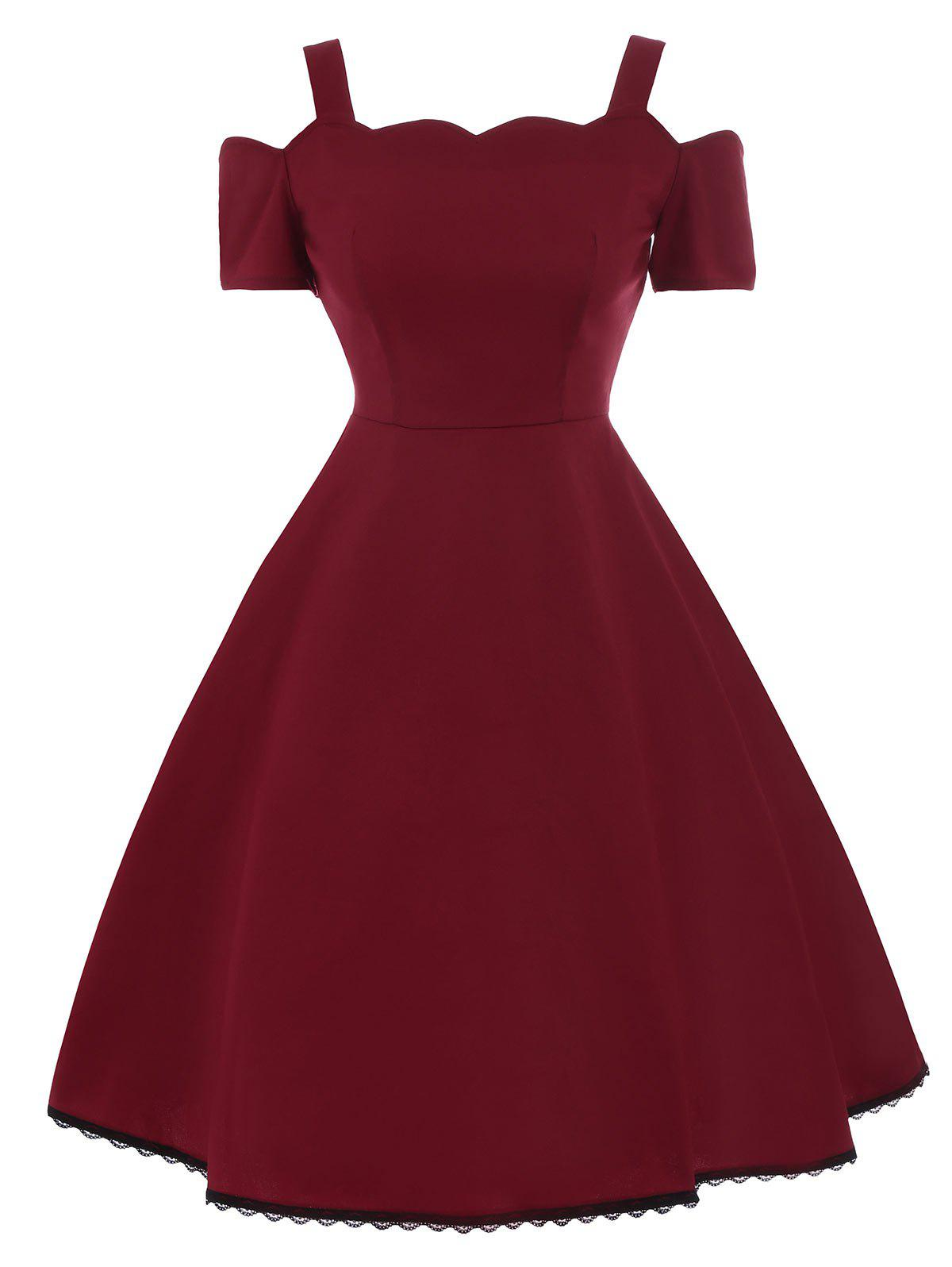 A Line Lace Trim Vintage Skater DressWOMEN<br><br>Size: 2XL; Color: WINE RED; Style: Vintage; Material: Cotton,Polyester; Silhouette: A-Line; Dress Type: Fit and Flare Dress; Dresses Length: Mini; Neckline: Spaghetti Strap; Sleeve Length: Short Sleeves; Embellishment: Lace,Panel; Pattern Type: Others; With Belt: No; Season: Summer; Weight: 0.3500kg; Package Contents: 1 x Dress;